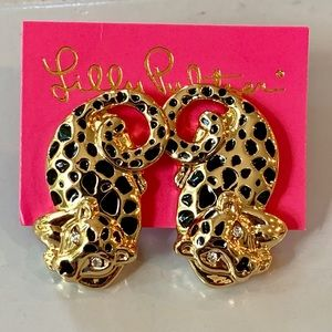 Lilly Pulitzer Panther Post Gold earrings -NEW